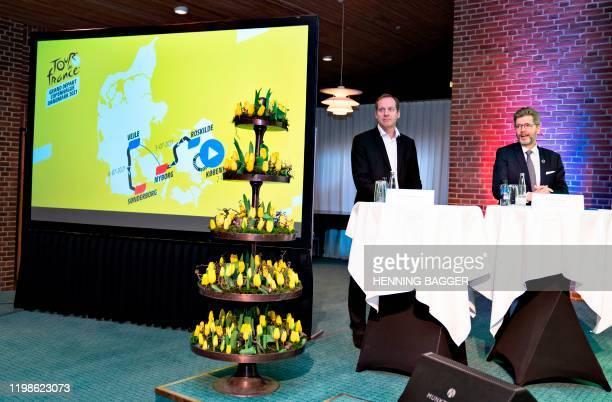 Tour de France Director Christian Prudhomme and the mayor of Copenhagen and chairman of the Grand Depart Copenhagen Denmark Frank Jensen take part in...