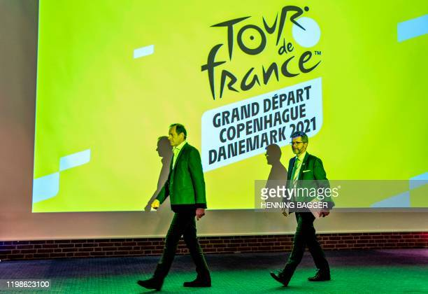 Tour de France Director Christian Prudhomme and the mayor of Copenhagen and chairman of the Grand Depart Copenhagen Denmark Frank Jensen arrive for...