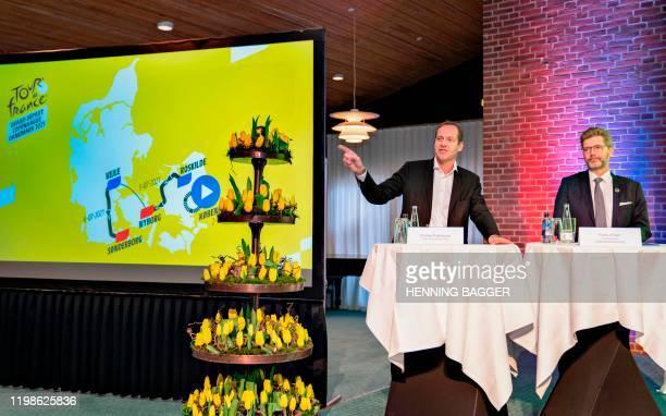 Tour de France Director Christian Prudhomme and the mayor of Copenhagen and chairman of the Grand Depart Copenhagen Denmark Frank Jensen present the...