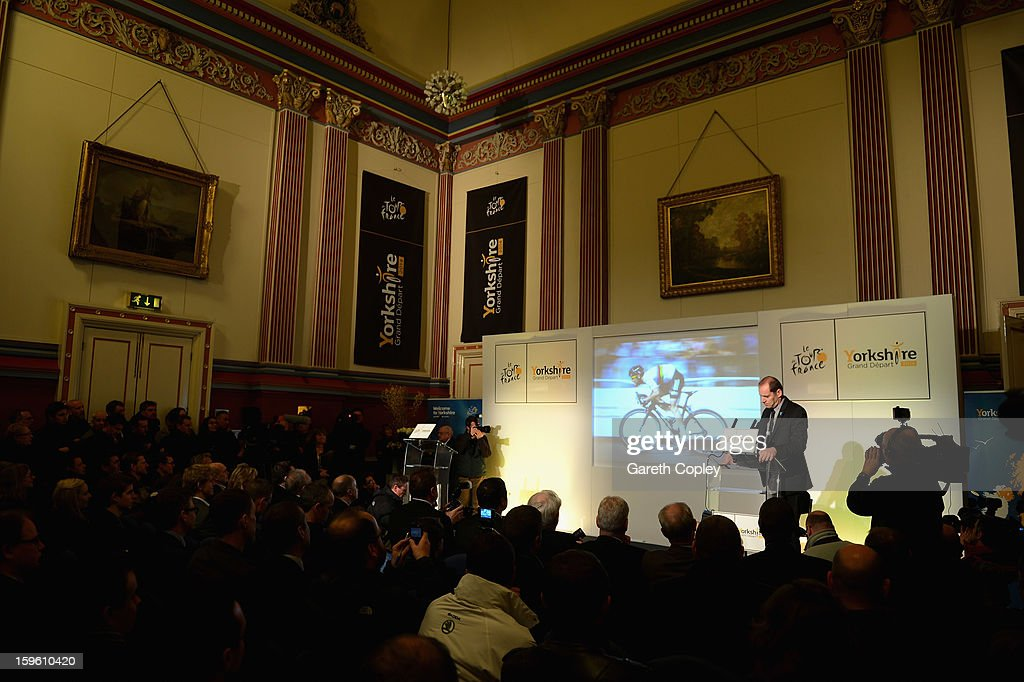 Tour de France Director Christian Prudhomme speaks during a press conference to announce the Grand Depart of the Tour de France at Leeds Town Hall on January 17, 2013 in Leeds, England.