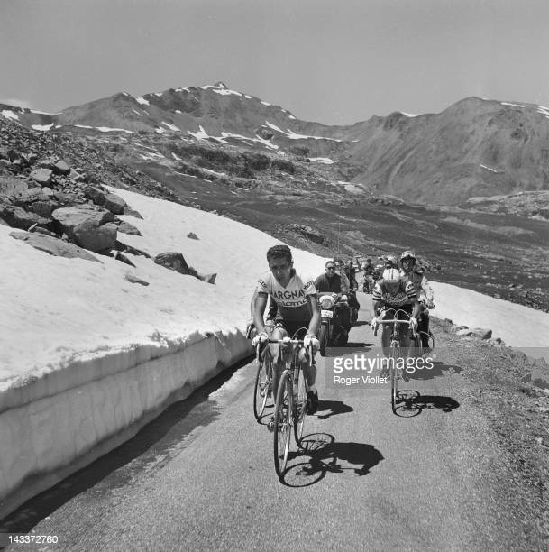Tour de France Federico Bahamontes Spanish racing cyclist and Jacques Anquetil French cyclist during a stage in the mountains