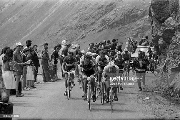 Tour De France July 1959 Du 9 juillet au 18 juillet 1959 tour de France cycliste Dans une étape de montagne un groupe de coureurs grimpent sous les...