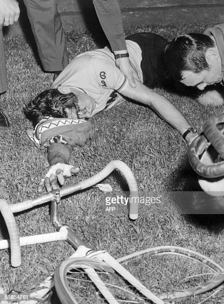 Tour de France winner Belgian cyclist Eddy Merckx lays unconscious next to the velodrome track in Blois after he fell during a race 09 September 1969