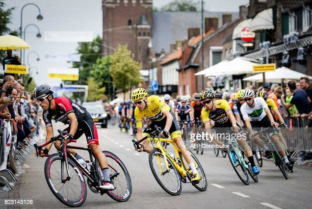 Tour de France winner Chris Froome competes in the 'Acht van Chaam' a traditional cycling event held annually on the Wednesday that follows the end...