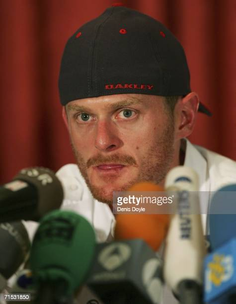 Tour de France winner, Floyd Landis, holds a press conference in a Madrid hotel after he tested positive for excessive levels of testosterone, on...