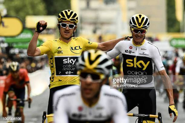 Tour de France winner Great Britain's Geraint Thomas wearing the overall leader's yellow jersey and classification third-placed Great Britain's...