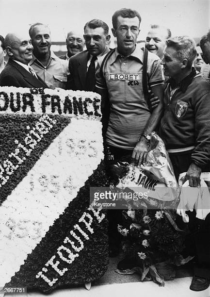 Tour de France winner Louison Bobet with a floral trophy The first man to win three consecutive Tour de France between 1953 and 1955