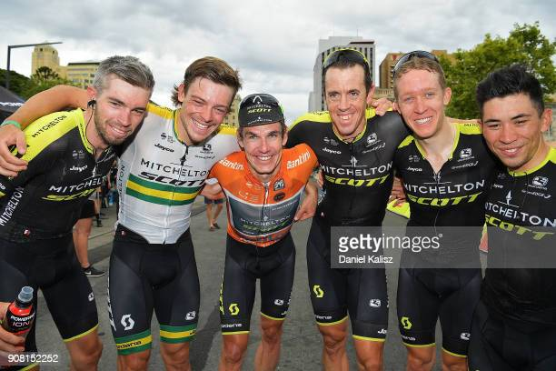 Tour Down Under race winner Daryl Impey of South Africa and MitcheltonScott celebrates with his team mates after stage six of the 2018 Tour Down...