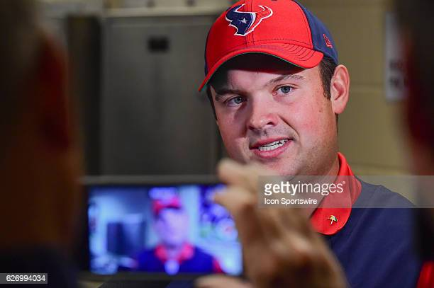 Tour golfer and Houston native Patrick Reed answers questions during a presser before he was introduced as Honorary Captain before the NFL football...