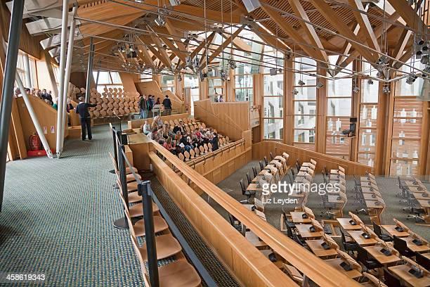Tour group at the Scottish Parliament, Holyrood, Edinburgh
