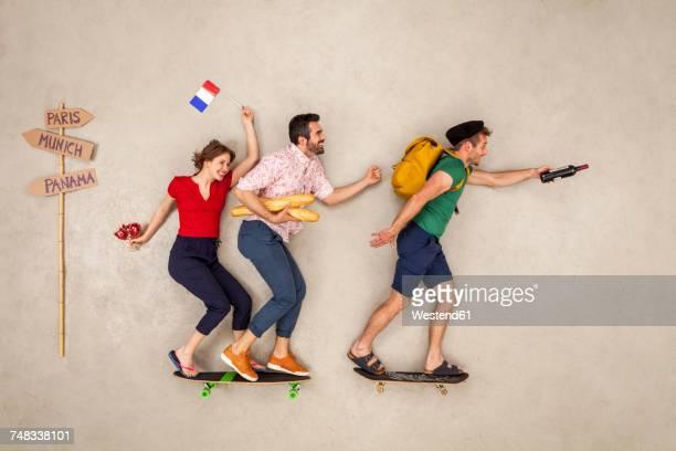 Tour group heading for a city break in Paris