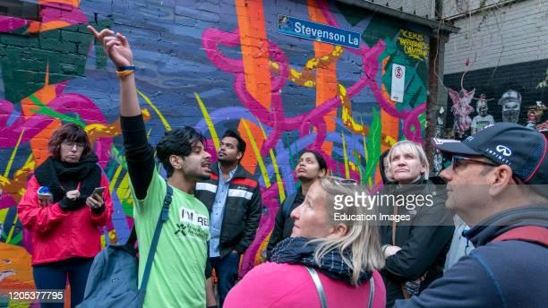 Tour group views street art in Melbourne Victoria Australia.