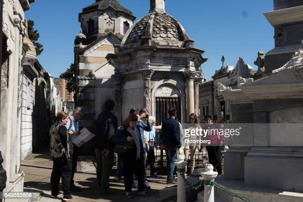 A tour group views the Recoleta Monumental Cemetery in Buenos Aires Argentina on Sunday Sept 17 2017 The National Institute of Statistics and...