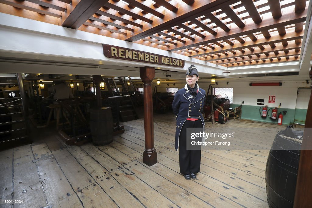 Tour guide Lee Pickering stands on the weather deck of HMS Trincomalee floating in Hartlepool Historic Quay at the National Museum of The Royal Navy on October 11, 2017 in Hartlepool, England. HMS Trincomalee, celebrates it's 200th aniversary tomorrow and is the oldest British fighting ship still afloat. HMS Trincomalee was built in Bombay in 1817 and was one of the last ships commissioned to be built by Nelson. The ship was named Trincomalee after the 1782 Battle of Trincomalee in Ceylon