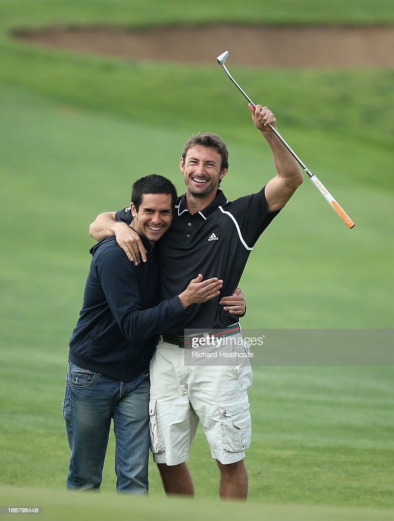Tour tennis player Juan Carlos Ferrero celebrates holing a long putt during the pro-am for the Open de Espana at Parador de El Saler on April 17, 2013 in Valencia, Spain.