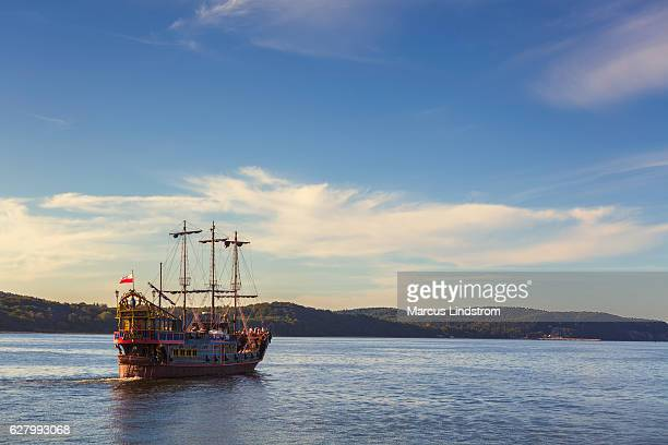 tour with a pirate ship - galleon stock photos and pictures