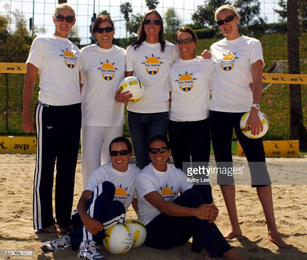 AVP Tour women's players Rachel Wacholder and Misty MayTreanor and Jen Kessy Nancy Mason Elaine Youngs Holly McPeak and Kerri Walsh pose at AVP Media...