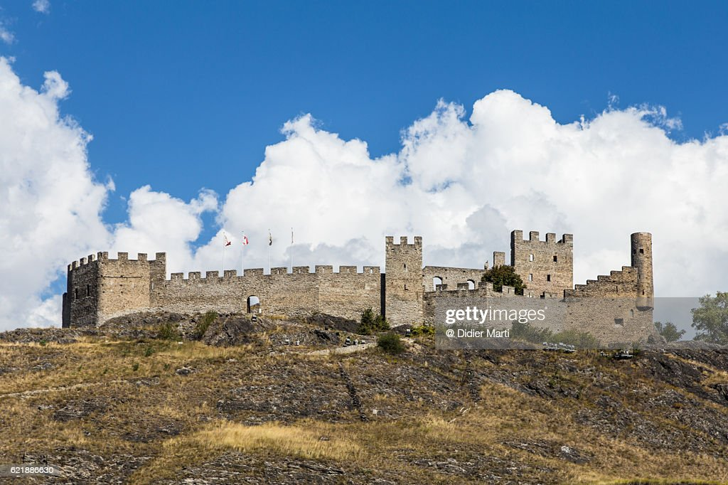Tourbillon castle in Sion in Valais Canton in Switzerland : Stock Photo