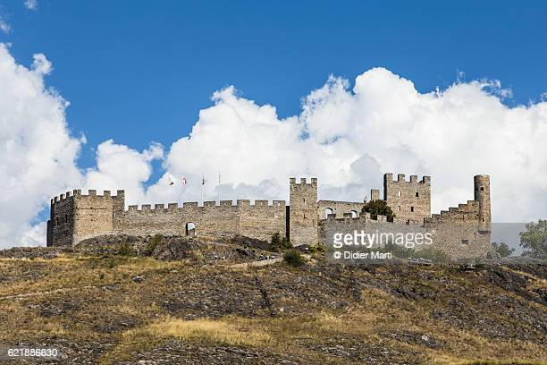 tourbillon castle in sion in valais canton in switzerland - didier marti stock photos and pictures