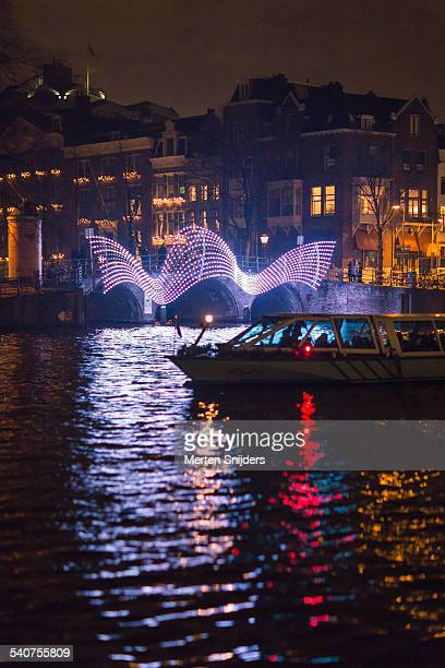 Tourboat at night during Light Festival