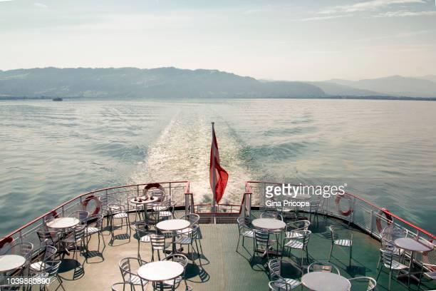 tourboat deck at bodensee, germany. - bodenmeer stockfoto's en -beelden