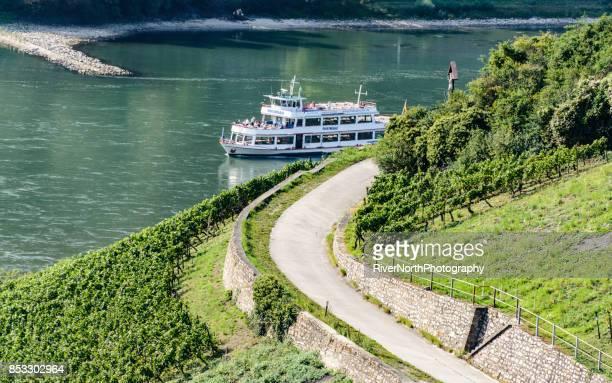 Tourboat on Rhine in Rheingau Region, Hessen, Germany