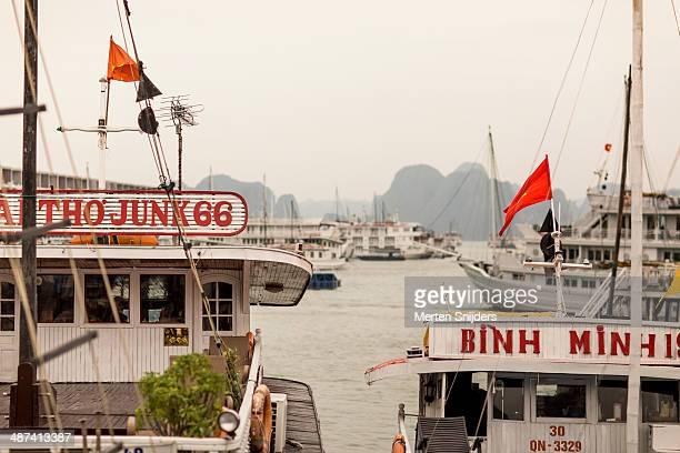 tourboats at ha long bay - merten snijders stock-fotos und bilder