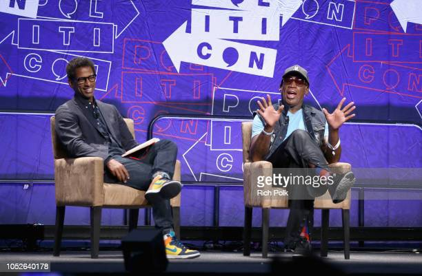 Toure and Dennis Rodman speak onstage during Politicon 2018 at Los Angeles Convention Center on October 20 2018 in Los Angeles California