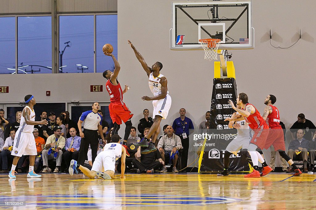 Toure Murry #9 of the Rio Grande Valley Vipers shoots against Hilton Armstrong #34 of the Santa Cruz Warriors during Game One of the D-League Championship on April 25, 2013 at Kaiser Permanente Arena in Santa Cruz, California.