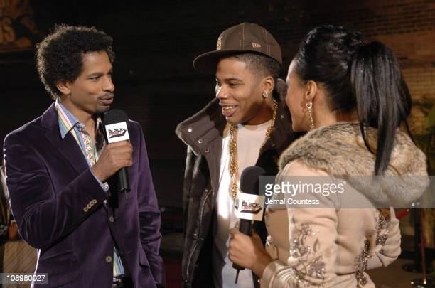 Toure of BET News, Nelly, and Danella of BET News during 2006 BET Hip-Hop Awards - Black Carpet at Fox Theatre in Atlanta, Georgia, United States.