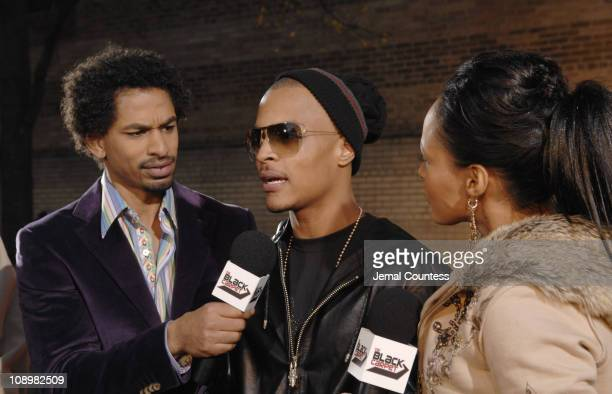 Toure of BET News, T.I., and Danella of BET News during 2006 BET Hip-Hop Awards - Black Carpet at Fox Theatre in Atlanta, Georgia, United States.
