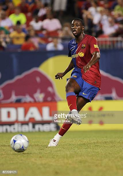 Toure Yaya of FC Barcelona plays the ball against the New York Red Bulls at Giants Stadium in the Meadowlands on August 6, 2008 in East Rutherford,...