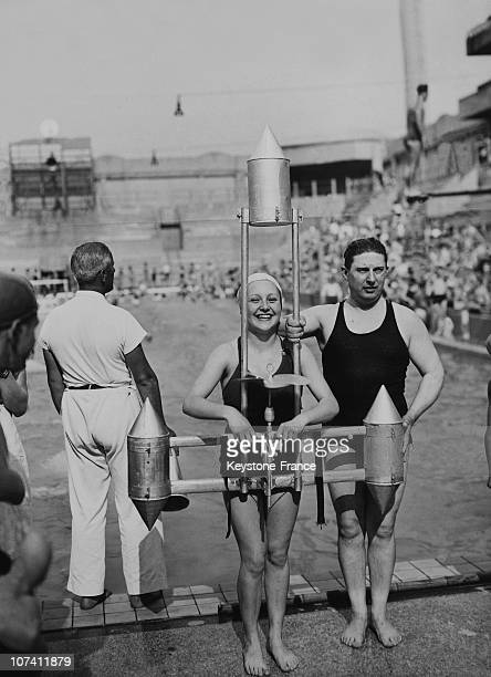 Tourelles Swimming Pool Apparatus With Propellers And Floats To Learn To Swim In Paris On June 1936