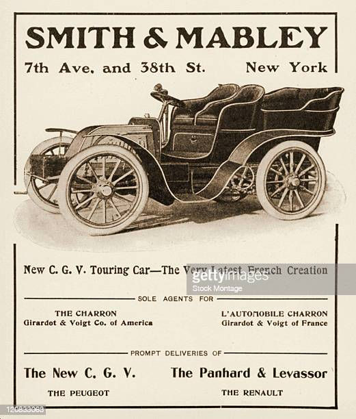 V Touring Car circa 1902 is shown in a magazine advertisement for a Girardot Voigt sales agent in New York The car pictured is described as 'The Very...