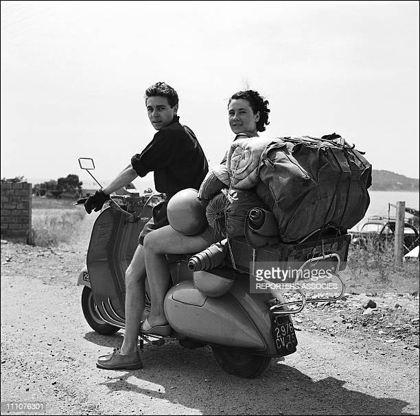 Touring France by Vespa scooter in the 1950s.