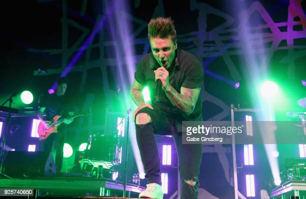 Touring guitarist Anthony Esperance and singer Jacoby Shaddix of Papa Roach perform during a stop of the 15 Years in the Making tour at The Joint...