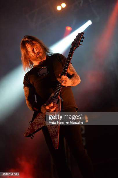 Touring guitarist Gary Holt performing live on stage with American thrash metal group Slayer at Bloodstock Open Air festival in Derbyshire England on...