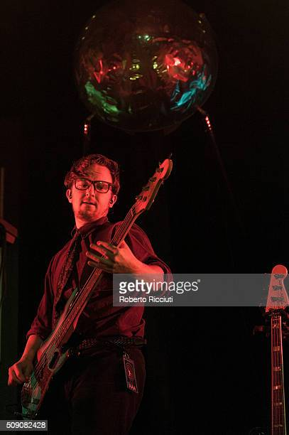 Touring member JF Abraham performs with Public Service Broadcasting on stage at Queen's Hall on February 8 2016 in Edinburgh Scotland
