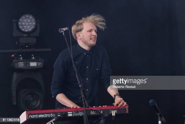 Touring member Kevin Baird of Irish indie rock band Two Door Cinema Club perform on stage during TRNSMT Festival Day 3 at Glasgow Green on July 9...