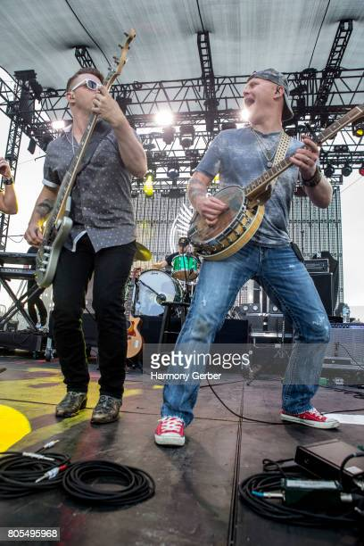 Touring members of the Jerrod Niemann band perform at the 3rd Annual ShipKicker Country Music Festival at The Queen Mary on July 1 2017 in Long Beach...