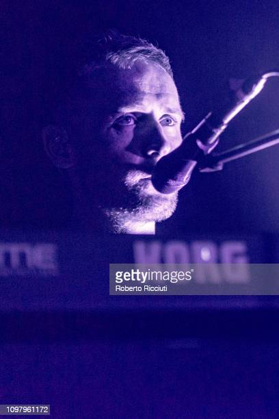 Touring Musician Tommy Bowen of White Lies performs on stage at The Liquid Room on February 11 2019 in Edinburgh Scotland