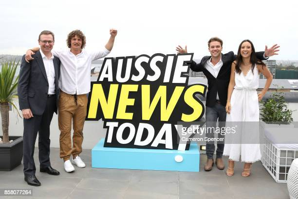 Tourism Australia Managing Director John O'Sullivan Nick Cummins Lincoln Lewis and Teigan Nash attend the launch of Aussie News Today as part of...