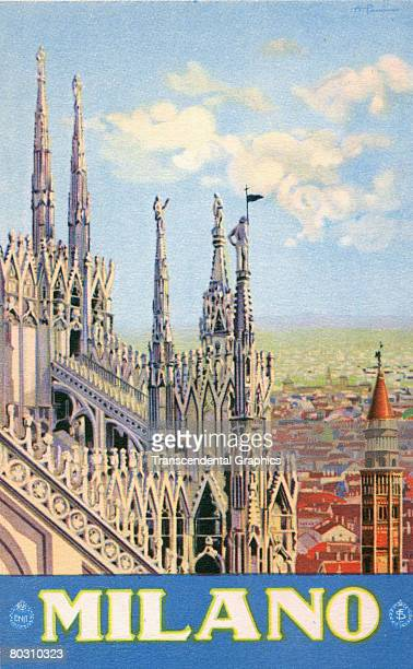 Tourism Board of Italy poster depicting the top section of the Milan Cathedral Italy 1930