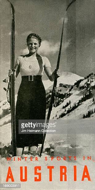 A tourism brochure for Austria reads 'Winter Sports in Austria' from 1936 in Austria