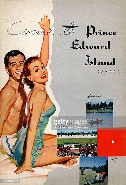 A tourism brochure for Prince Edward Island reads 'Come to Prince Edward Island Canada Fishing Trotting Races Golf' from 1952 in Canada