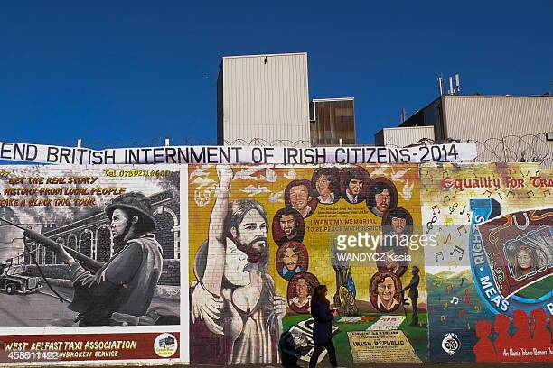 Tourism in Belfast and Northern Ireland The frescoes of the Peace Wall separating the Catholic part of the Protestant Shankill Road area of Falls...