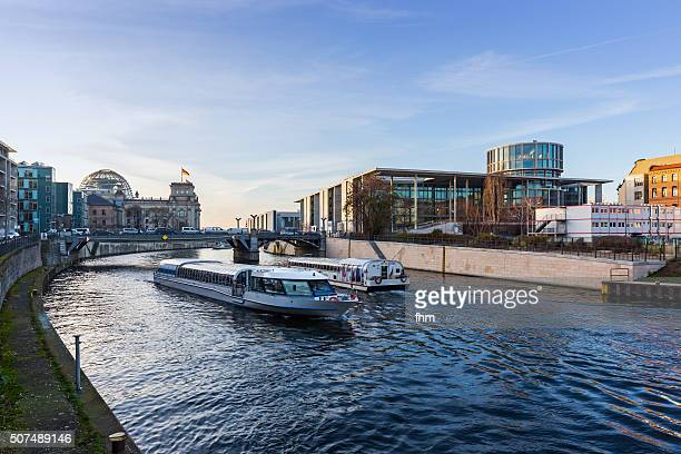 Tourism in Berlin - tourist boats at Spree river