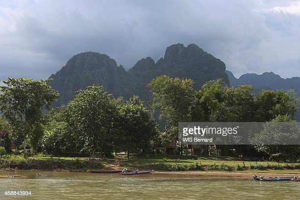 Tourism in Laos in the town of Vang Vieng looking like the Halong bay near the river Nam Song