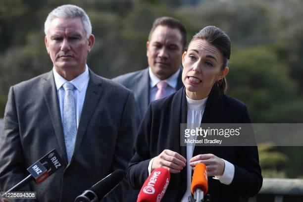 Tourism Minister Kelvin Davis and Prime Minister Jacinda Ardern speak to the media on May 19 2020 in Rotorua New Zealand Prime Minister Jacinda...