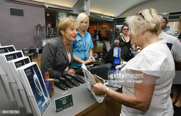 Tourism Minister Margaret Hodge greets visitors to the Spinnaker Tower in Portsmouth where she handed out promotional leaflets for the tourist...